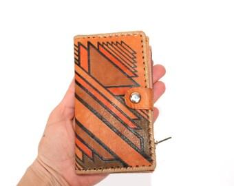 Vintage leather wallet UNUSED Tooled leather wallet Genuine leather wallet Handmade wallet Estonia Estonian Real leather wallet Retro wallet