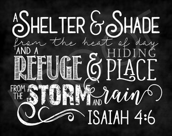Scripture Art - Isaiah 4:6 ~ Chalkboard Style