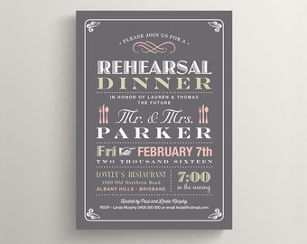 Printable Rehearsal Dinner Invitation \\ Vintage Poster design \\ Grey and Pink Invite (RD11)