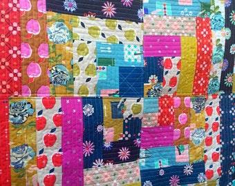 Lap Quilt Sofa Throw Minky Backed Cotton + Steel Fabrics