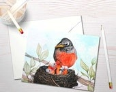 Watercolor notecard set, robin's nest painting, baby bird painting, birds nest stationery, baby bird card, art reprint, congratulations card