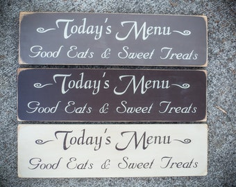 Today's Menu- Wooden Kitchen Sign