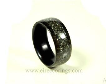 Wooden wedding band ring black granite and Irish bog Oak wood