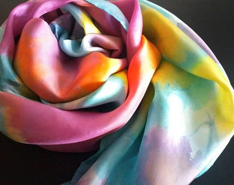 Bright floral silk scarf or shawl,one-of-a-kind silk scarves for women, yellow,multicolors pink,purple,green,great gifts for Mom,Christmas