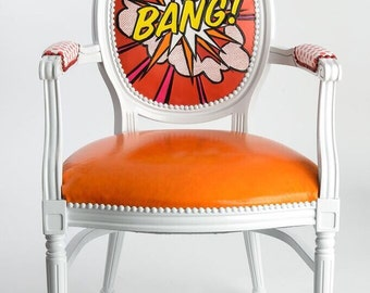 Lichtenstein inspired popart 100% genuine hand carved and painted leather French Louis XVI armchair painted white red orange pink chair