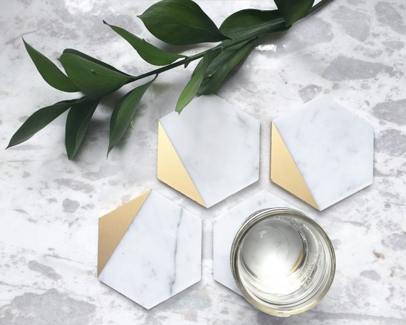 Gold Dipped Carrara Marble Coasters, Set of 4