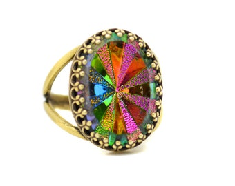 Color Changing Ring, Rainbow Ring,  Gothic Glass Ring, Rainbow Crystal Ring