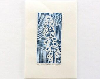 linocut - BELL TOWER, blue - 4x6 / printmaking / block print / nature art / flower art / contemporary