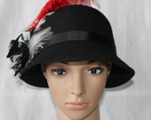 Handmade Black, Red and White Ladies Dress/Church Hat