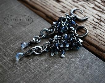 Iolte Cluster Earrings Indigo Gemstone Sterling Silver Long Earrings by Letemendia Jewelry Handmade Industrial Boho Modern