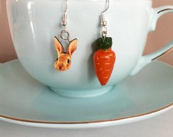 Rabbit and Carrot Earrings