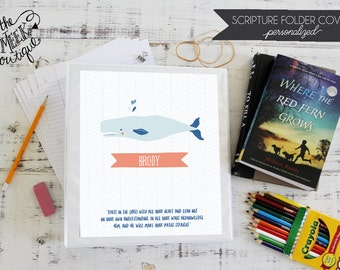 Personalized Scripture Folder Covers, Whale, Nautical, No. 5