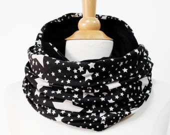 Black jersey infinity scarf, circle scarf loop cowl snood star patter, fabric with stars, handmade