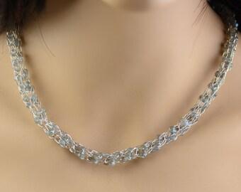 Caged Labradorite Gemstone Necklace in Fine Silver Viking Knit, Handmade with Blue Flash Gemstones