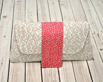 Clutch Bag - Cosmetic Pouch - Diaper Clutch -Black White and Red Cosmetic Bag