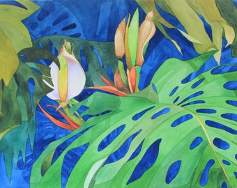 NEW!.....Art Original Watercolor Painting TROPICAL MONSTERA