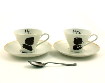 Set for 2 Cups Snow White Prince Horse Apple Mr. Mrs. Wedding Espresso Porcelain Vintage Fairytale Redesigned Sugarwhite Brown Romantic