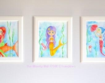 8x10 Original Custom Watercolor Painting - Three Little Mermaids