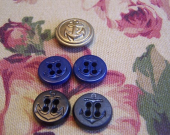 Vintage Odd Lot of 5 Anchor Buttons, Metal and Non-Metal, Some Sets (DM)