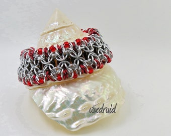 Beaded Chainmail Jewelry, Silver and Red Rondo al a Byzantine Anodized Aluminum Chainmaille Bracelet, Wide Cuff Bracelet