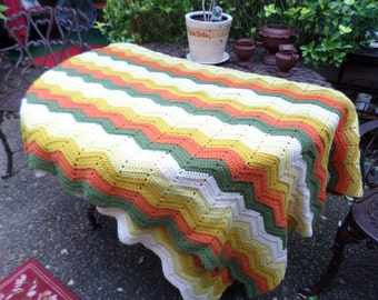 Lovely Fall Colors Handmade Vintage Afghan-Orange/Green/Gold/Yellow/Ivory-Blanket/Throw/Bedding/Couch/Car