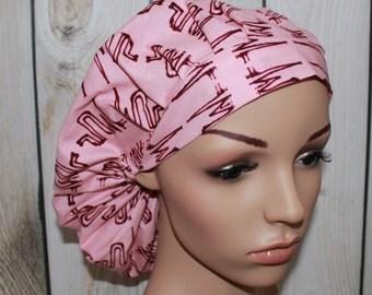 Heartbeats,Bouffant Women's Scrub Hat, Surgical Scrub Hat, OR Nurses Scrub Hat, Scrub Cap