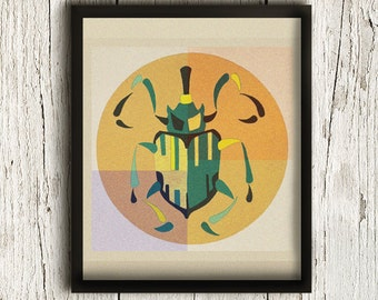 Art Print, Beetle Insect, Bugs Wall Decor, Insects Science, Nature Art, Nature Prints, Illustration Print / 8x10in
