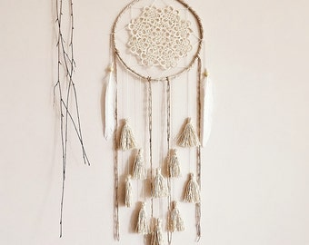 Dream catcher, large, dreamcatcher, crochet, doily, wall decoration, neutral, white, boho, wall hanging, wall decor, handmade, room decor