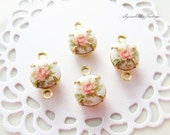 Vintage 8mm Pink Rose Limoge Cameo Set Stones Brass or Silver Ox Settings - 4