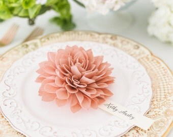 Antique Rose Wooden Flower Place Cards, Rustic Wedding Place Cards, Wedding Escort Cards