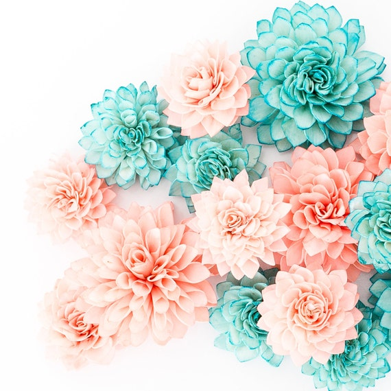 Teal Wedding Flowers Ideas: 15 Coral And Teal Mixed Wooden Flowers Wedding Decorations