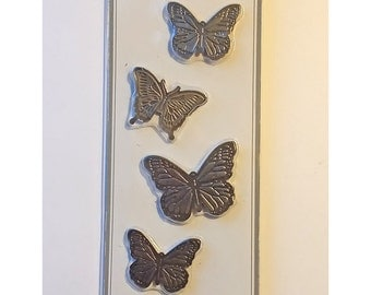 Butterfly Metal Intricate Details Stickers 5 Designs in Set