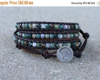 SPRING SALE Multi colored beaded leather wrap bracelet sterling silver tree with fancy jasper gemstones 4 strand