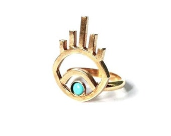 Turquoise Vision Ring // Evil Eye Ring, All Seeing Eye Ring