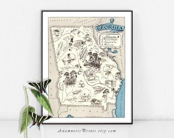GEORGIA MAP PRINT - size & color choices - personalize it - picture map to frame - perfect wedding or housewarming gift - fun wall art