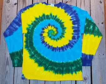 Plus SIze Tie Dye Shirt, Adult, XXL 3XL 4XL 5XL, Green Blue Yellow, Hippie Shirt, Mens Tie Dye, Women's Tie Dye
