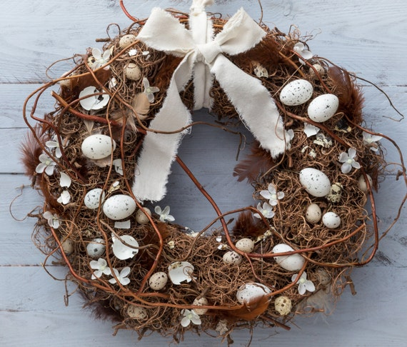 Easter wreath nest spring wreaths door decorations natural rustic decor