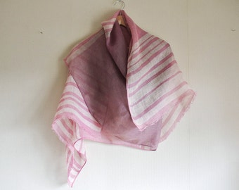Natural Cochineal dyed random horizontal-striped Linen scarf