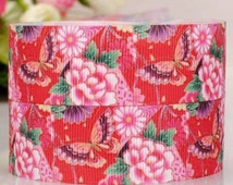 7/8-22 mm Grosgrain Ribbon Flowers Butterfly Red Garden-by yard Craft Supplies-Hair Bows-Scrapbook-Girl-Floral-Baby Headband