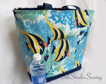"Angelfish Beach Tote, 14.5 "" H, 18 W"", Lots of Pockets, Padded and Fully Lined, Navy Blue Canvas Paired with Colorful Angelfish Canvas"