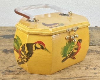 Vintage Wooden Yellow Bird Purse with Lucite Handle And Decoupaged Birds