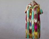 silk dress, Uzbek dress, XS-L traditional ethnic dress, Central Asia, Uzbekistan, Uzbek ikat silk, bright shift silk dress, relaxed fit