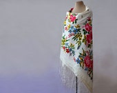 white silk shawl, ivory floral shawl, Russian shawl, silk blend, cotton floral shawl, white, blue and pink, botanical shawl, autumn shawl