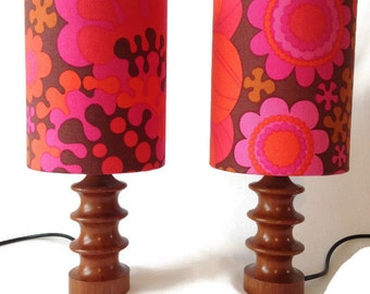 AMAZING pair of 70's bedside lamps with handmade shades
