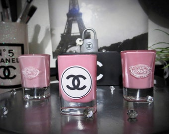 SET of 3  Hand Painted Pink Votive Glass Pink Candles 1 CC and 2 #7 holders