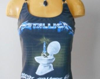 Metallica halter top Heavy Metal Music Band DIY Reconstructed