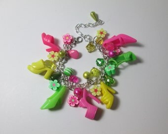 KIDS SIZE /Pink, Yellow and Green / Barbie Shoe  bracelet with flower beads / Item 9-096