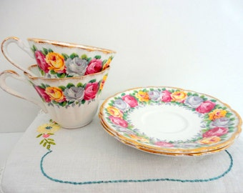 Vintage Roses Tea cup Saucer Mismatched China Set of 2 Porcelain 1950s Tea Party Collectible