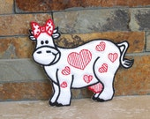 Vintage cow applique - cow patch - Valentine cow - embroidery cow - sewing - sew on patch - iron on patch