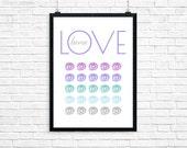 LOVE Art Printable, Digital Print, Geometric Wall Art, Inspirational quote, Quote Inspirational, quote poster, modern, Quote Printable 0013